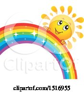Sun Character And Rainbow