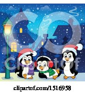 Clipart Of A Snowy Town With Christmas Penguins Royalty Free Vector Illustration by visekart