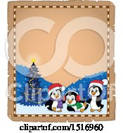 Parchment Border Of A Christmas Tree And Penguins