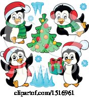 Christmas Tree And Penguins With Snowflakes And Ice