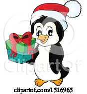 Clipart Of A Christmas Penguin Wearing A Santa Hat And Holding A Gift Royalty Free Vector Illustration by visekart
