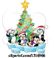 Clipart Of A Christmas Tree And Penguins Royalty Free Vector Illustration by visekart