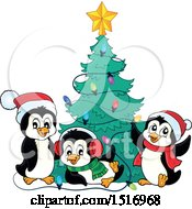 Christmas Tree And Penguins