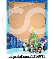 Parchment Scroll Border Of A Christmas Tree And Penguins