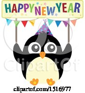 Clipart Of A Party Penguin Holding A Happy New Year Sign Royalty Free Vector Illustration by visekart