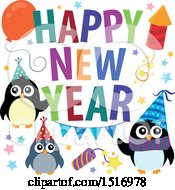 Clipart Of A Happy New Year Greeting With Party Penguins Royalty Free Vector Illustration by visekart