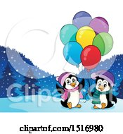 Party Penguins With Balloons And Gifts