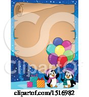 Parchment Border Of Party Penguins With Balloons And Gifts
