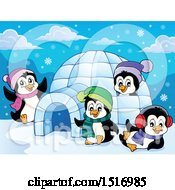 Clipart Of Winter Penguins Royalty Free Vector Illustration by visekart