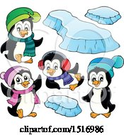 Clipart Of Winter Penguins Royalty Free Vector Illustration