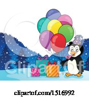Party Penguin With Balloons And Gifts