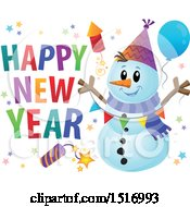 Clipart Of A Happy New Year Greeting By A Snowman With A Firework And Balloons Royalty Free Vector Illustration by visekart