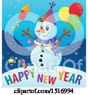 Clipart Of A Happy New Year Greeting Under A Snowman With A Firework And Balloons Royalty Free Vector Illustration
