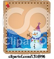Clipart Of A Parchment Border Of A Snowman With A Firework Royalty Free Vector Illustration by visekart
