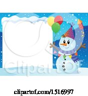 Clipart Of A Blank Sign By A Snowman With A Firework And Balloons Royalty Free Vector Illustration by visekart