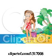 Clipart Of A Girl By A Sand Castle On An Island Beach Royalty Free Vector Illustration by visekart