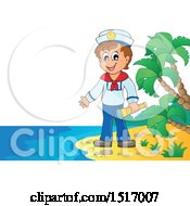 Clipart Of A Sailor Holding A Telescope On An Island Beach Royalty Free Vector Illustration by visekart