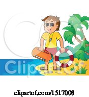 Clipart Of A Lifeguard On An Island Beach Royalty Free Vector Illustration by visekart
