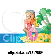 Clipart Of A Girl With An Inner Tube On An Island Beach Royalty Free Vector Illustration by visekart