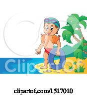 Clipart Of A Boy With An Inner Tube On An Island Beach Royalty Free Vector Illustration by visekart