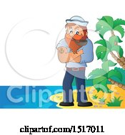 Clipart Of A Sailor Smoking A Pipe On An Island Beach Royalty Free Vector Illustration by visekart