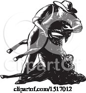 Clipart Of A Farmer Shearing A Sheep In Black And White Woodcut Royalty Free Vector Illustration