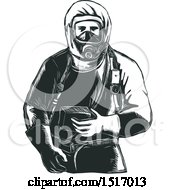 Clipart Of A Paramedic In A Hazmat Suit In Black And White Woodcut Royalty Free Vector Illustration