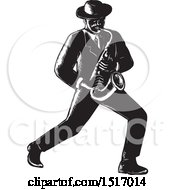 Clipart Of A Jazz Musician Playing A Saxophone In Black And White Woodcut Royalty Free Vector Illustration by patrimonio