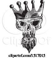 Clipart Of A Bearded Skull Wearing A Kings Crown In Black And White Woodcut Royalty Free Vector Illustration by patrimonio
