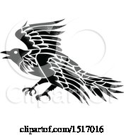 Clipart Of A Black And White Raven In Tattoo Style Royalty Free Vector Illustration