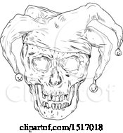 Clipart Of A Jester Skull In Black And White Royalty Free Vector Illustration by patrimonio