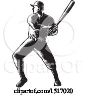 Clipart Of A Batting Baseball Player In Black And White Woodcut Royalty Free Vector Illustration