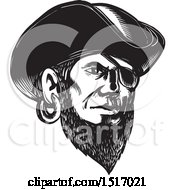 Clipart Of A Pirate Wearing An Eye Patch And Tricorne Hat In Black And White Woodcut Royalty Free Vector Illustration by patrimonio