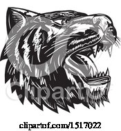 Tiger Head Roaring In Black And White Woodcut