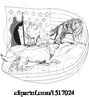 Clipart Of A Black And White Sketched Shepherd With A Wolf And Dog Protecting A Lamb And Flag Royalty Free Vector Illustration by patrimonio