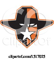 Clipart Of A Texan Outlaw Wearing A Bandana And Cowboy Hat Royalty Free Vector Illustration