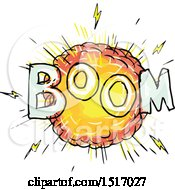 Clipart Of A Cartoon Explosion With Boom Text Royalty Free Vector Illustration