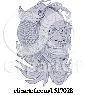 Clipart Of A Hannya Mask Of A Jealous Female Demon And Koi Fish Royalty Free Vector Illustration