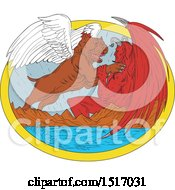 Clipart Of A Pit Bull Dog Angel Fighting The Devil Over A Lake Royalty Free Vector Illustration
