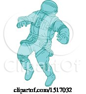 Clipart Of A Sketched Blue Astronaut Royalty Free Vector Illustration