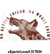 Clipart Of A German Shepherd Dog With No Better Friend No Worse Enemy Text Royalty Free Vector Illustration by patrimonio