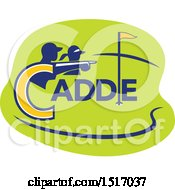 Clipart Of A Silhouetted Caddy And Golfer Pointing Over A Course Royalty Free Vector Illustration by patrimonio