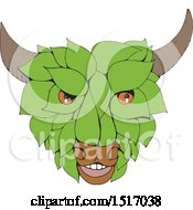 Clipart Of A Leafy Green Bull Head Royalty Free Vector Illustration