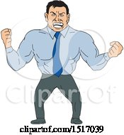 Clipart Of A Mad Business Man With Clenched Fists Royalty Free Vector Illustration