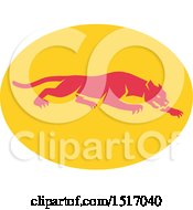 Clipart Of A Prowling Panther On A Yellow Oval Royalty Free Vector Illustration by patrimonio