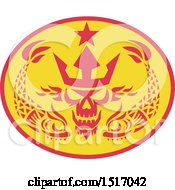 Clipart Of A Neptune Skull With A Crown In An Oval With Fish Royalty Free Vector Illustration