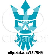 Clipart Of A Poseidon Or Neptune Skull With A Crown Royalty Free Vector Illustration
