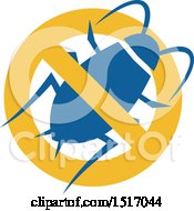 Clipart Of A Blue Cockroach Pest In A Prohibited Royalty Free Vector Illustration by patrimonio