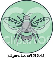 Clipart Of A Bumble Bee In A Green Circle Royalty Free Vector Illustration