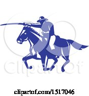 Horseback Calvary Soldier Charting With A Sword